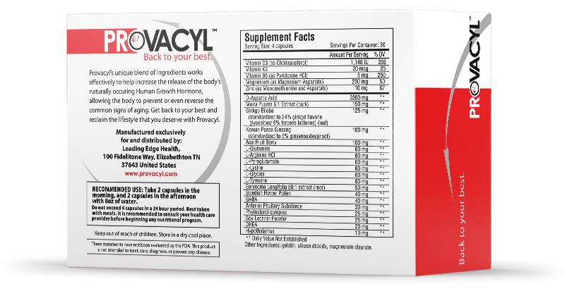 Provacyl Ingredients label